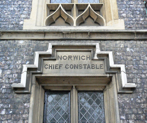 Imposingly permanent sign on the Guildhall.