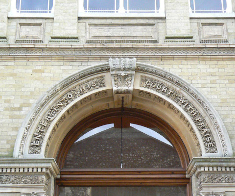 Fabulous lettering over the doorway of the United Reform Church, Princes Street.