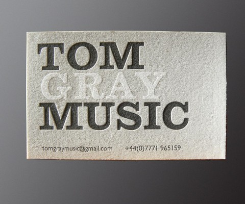 Letterpress card for music professional